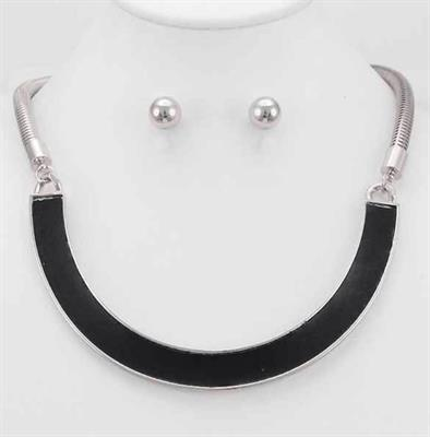 Rhodium Black Enamel Curved Bar Necklace and Earring Set.  $9.00