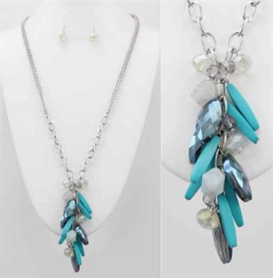 TQ Blue Dangle Necklace & Earring Set with Beads on a Rhodium Chain.  $9.00