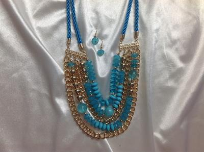 "22"" Aqua Rope 3 Strand Necklace & Earring Set.  $8.00"