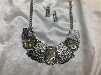 "20"" Rhodium & Abalone Necklace & Earring Set.  $12.00"