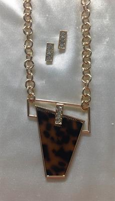 Gold Necklace and Earring Set with Leopard Insert and 4 clear stones.  $9.00