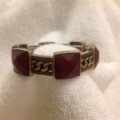 Gold with Square Burgundy Stretch Bracelet $8.00