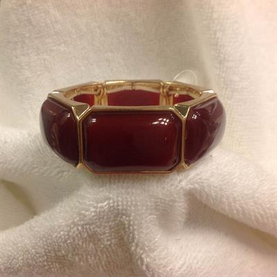 Rectangular Burgundy Stretch Bracelet $8.00
