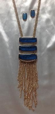 Gold Necklace and Earring Set with 3 Blue Bars and Gold Chains.  $11.00