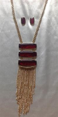 Gold Necklace and Earring Set with 3 Red Bars and Gold Drop Chains.  $11.00