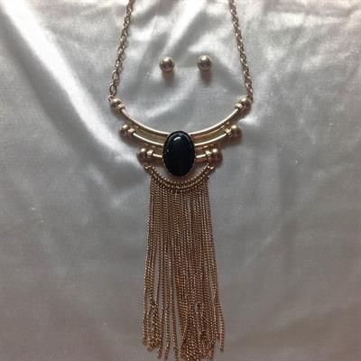 Gold Necklace and Earring Set with Black Oval Stone and Gold Tassel Chains.  $10.00