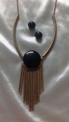 Gold Necklace and Earring Set with Round Black Disk and Gold Bar Tassels.  $7.00
