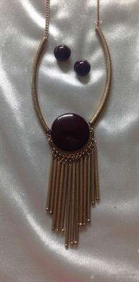 Gold Necklace and Earring Set with Round Burgundy Disk and Gold Bar Tassels.  $7.00