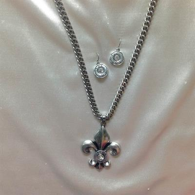 Rhodium Necklace & Earring Set with Shot Gun Shell Fleur di Lis & Crystal Stone.  $8.00