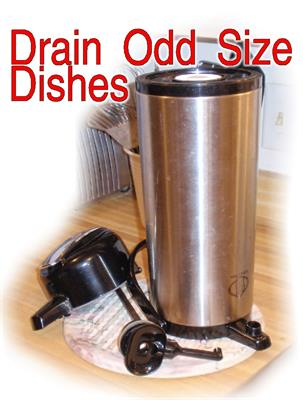 You can drain odd sized dishes such as air pots or drain frequently used items such as Travel mugs.
