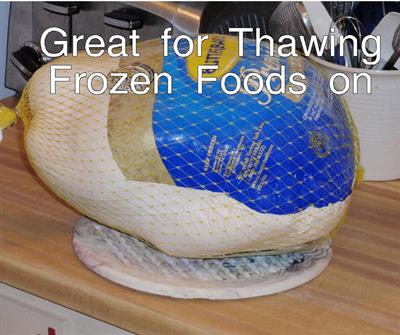 Trivets are great when thawing foods, even 20 lb turkeys! No water mess anywhere.