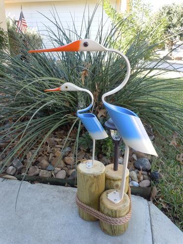 "32""  Blue Egret w/baby , Outdoor Solar Light"