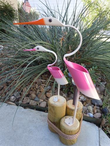 "32""  Pink Egret w/baby , Outdoor Solar Light"