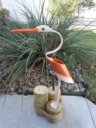 """32""""  Burnt Orange Duckbill , Outdoor Solar Light"""