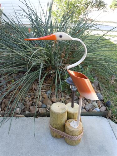 "32""  Burnt Orange Egret , Outdoor Solar Light"