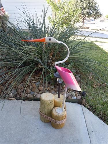 "32""  Pink Egret , Outdoor Solar Light"