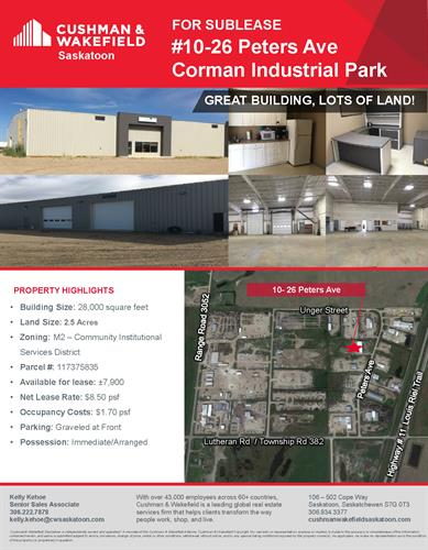 Sublease in North Corman Industrial Park, large land component.