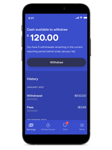 Withdraw your paycheck from Rain Instant Pay