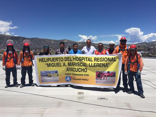 Banner of completion of helipad