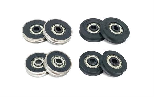 Stainless steel and vinyl precision wheels for sliding glass door roller assemblies