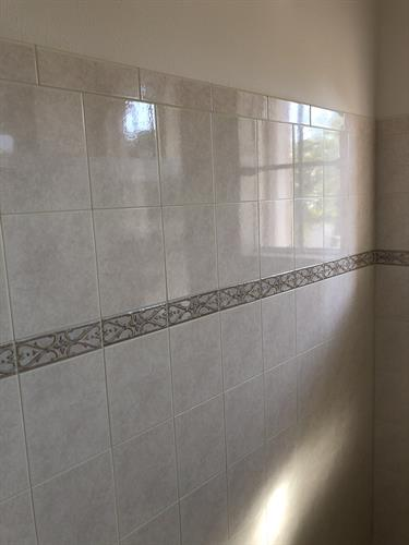 Hydroshield color sealed grout. Hydroshield protected porcelain tile
