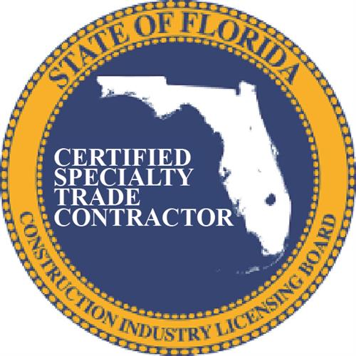 Certified Specialty Contractor with the State of Florida