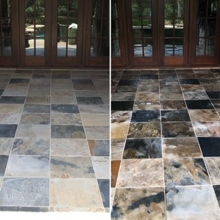 Our E5X enhancer brought out the beautiful color in this old stone deck.