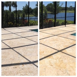 Beautiful travertine pool deck, enhanced with E5X, warranted for a LIFETIME with our maintenance plan!