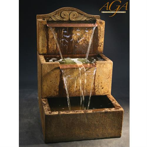 Simple & elegant two tier fountain with sheet-style waterfalls