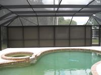 Textilene 95% solar screen on the exterior of the pool cage for privacy