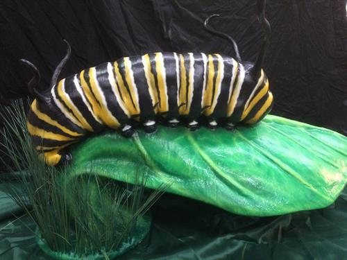 5' long monarch caterpillar statue for Franklin Park Zoo