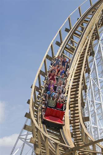 White Lightning's first drop. Built in 2013 by Great Coasters International (GCI).
