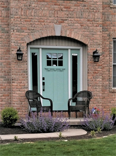 Masonite Heritage Series Door with Clear Glass, Fusion Frame and Finished SW6479 Drizzle