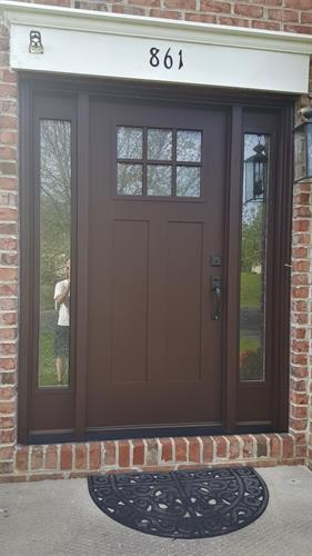 Masonite Heritage Series Door with Double Water Glass, Fusion Frame and Finished SW2838 Polished Mahogany