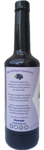 Truronia SIde Label aronia juice