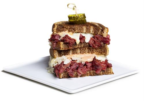 Classic Reuben sandwich stacked