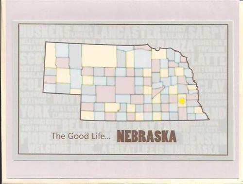 Nebraska County Map Greeting Card
