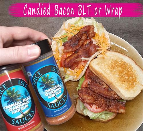 BLT with candied bacon using Tropical Seasoning/Rubs