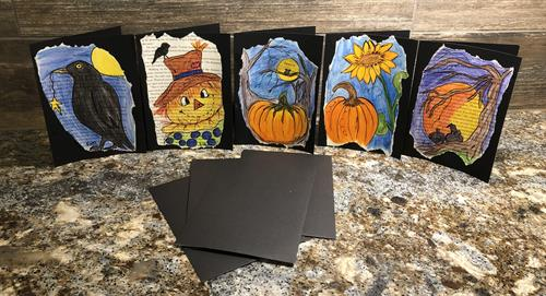 Set of five watercolor cards