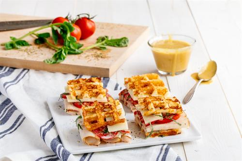 Heavenly Waffles Turkey and Swiss Sliders