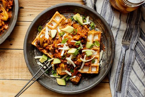 Heavenly Waffles Cornbread recipe with chili and cheese