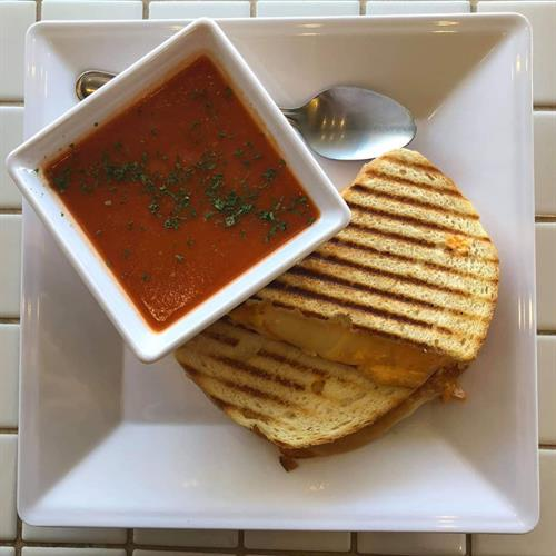 homemade soup and a crispy-melty panini sandwich