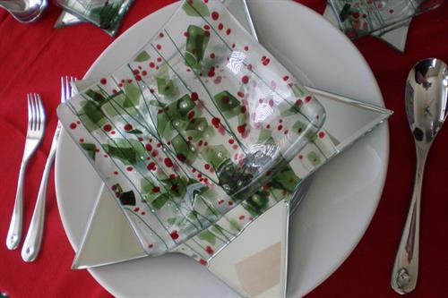 Christmas Fused Glass Dishes by Glenn Trembley