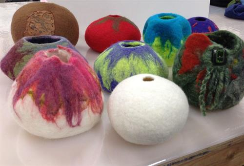 Margie's wet felted vessels, can you guess how they were done?