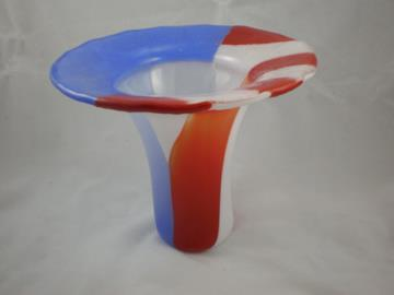 Red White and Blue fused glass vase by Glenn Trembley
