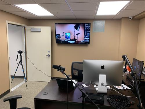 The McCook Cowork Space also includes an audio/video recording studio to market your busines in different mediums.