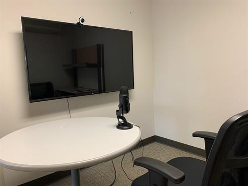 A video conference room allows cowork space members access to equipment to make a great impression in your next video conference.