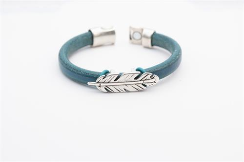 Natural Teal Greek Leather Bracelet with Silver Feather Charm