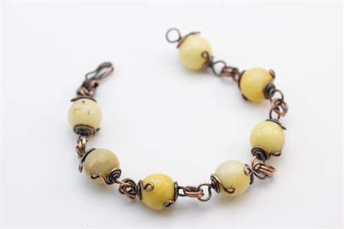 Dark Yellow Stone and Copper Bracelet