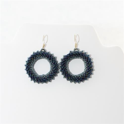 Dark Blue Beaded Hoop Earrings